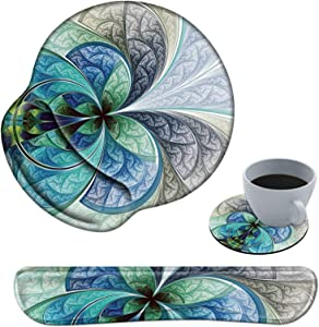 Ergonomic Mouse Pad with Wrist Support and Keyboard Wrist Rest Pad Spsun Non-slip Rubber Base Mousepad for Office Gaming Working Computers Laptop Easy Typing & Pain Relief + Coasters - Fractal flowers