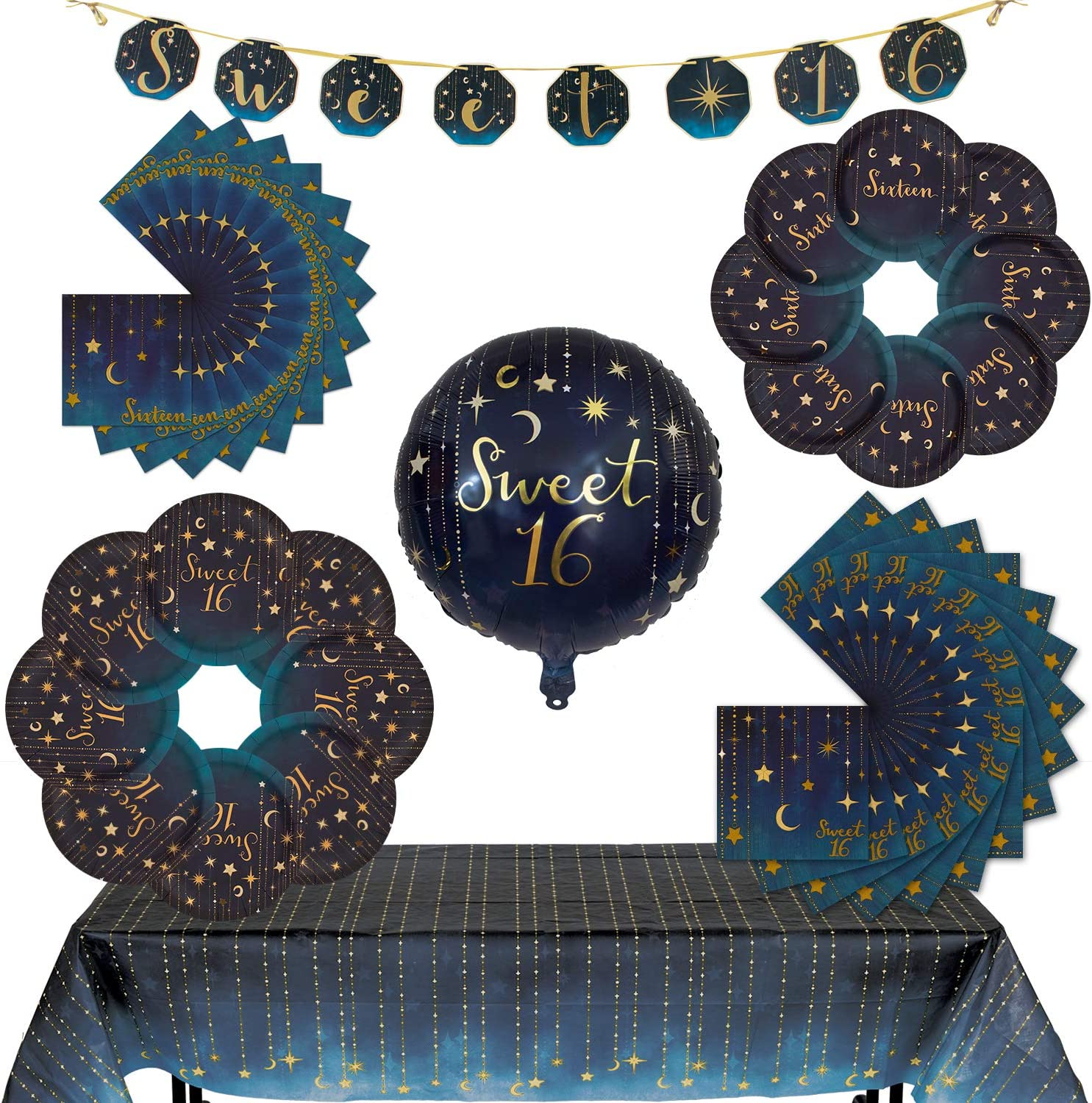 Havercamp Starry Night Sweet 16 Party Bundle | Dinner & Dessert Plates, Luncheon & Beverage Napkins, Table Cover, Garland, Mylar Balloon | Great for Girl's 16th Birthday