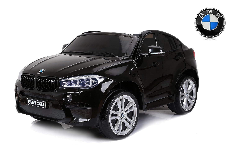 RIRICAR BMW X6 M Coche eléctrico para niños, 2 x 120W, Negro, Dos Asientos de Cuero, Licencia Original, con Pilas, Puertas de Apertura, Freno eléctrico