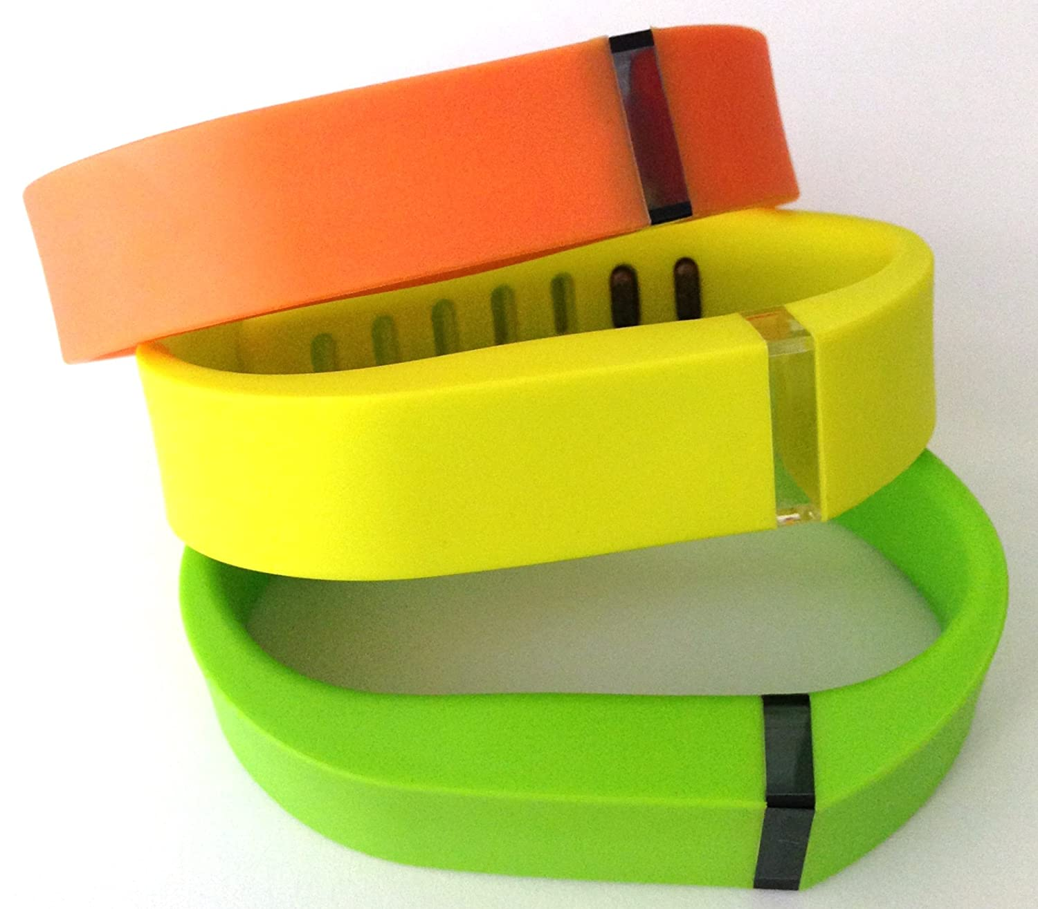 Small S 1pc Orange 1pc Green (Lime) 1pc Yellow Replacement Bands + 1pc Free Small Grey Band With Clasp for Fitbit FLEX Only /No tracker/ Wireless Activity Bracelet Sport Wristband Fit Bit Flex Bracelet Sport Arm Band Armband