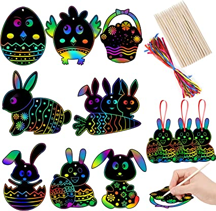 Hengfengmy 24 Pcs Easter Bunny Scratch Art Rainbow Scratch Rabbit Carrot Egg Shape Paper for Easter Crafts Hanging Decorations Kids Gift