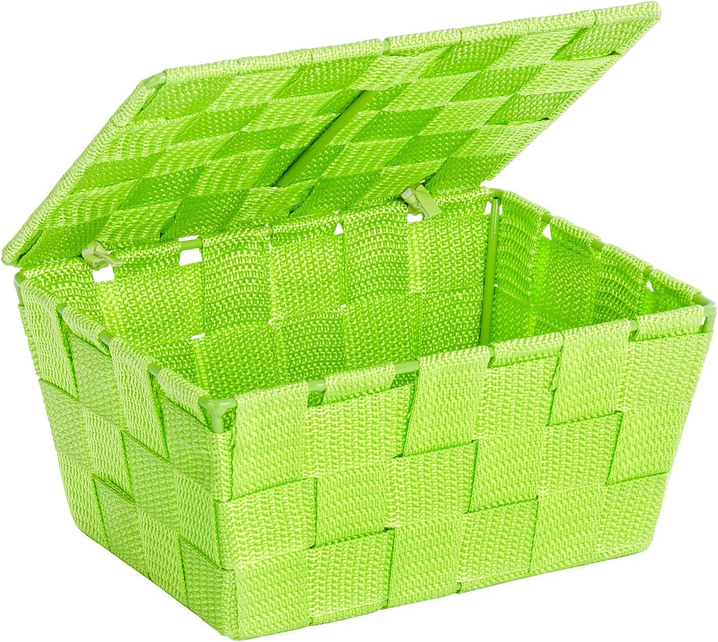 Polypropyl/ène WENKO 22204100 Panier de Rangement avec Couvercle Adria Vert 19 x 10 x 14 cm