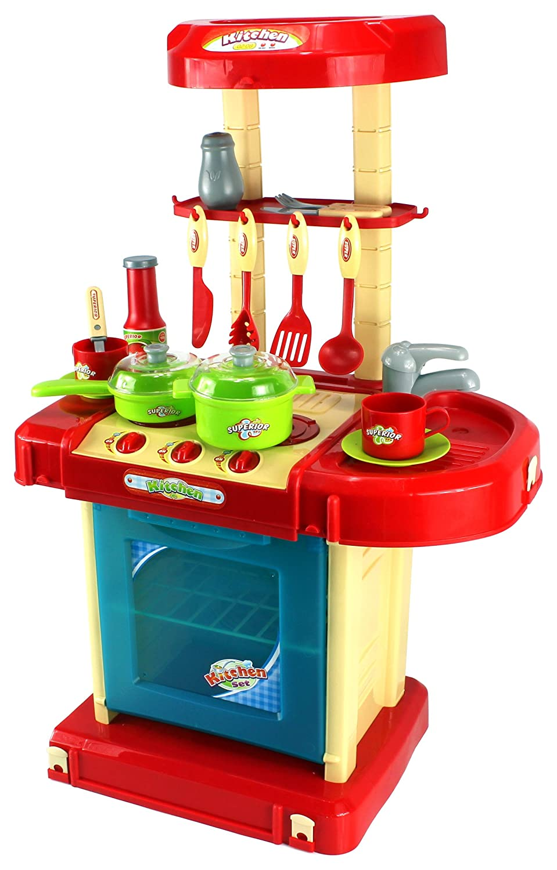 Amazon com gt super kitchen childrens kids pretend play toy kitchen playset w pot pan utensils lights sounds toys games