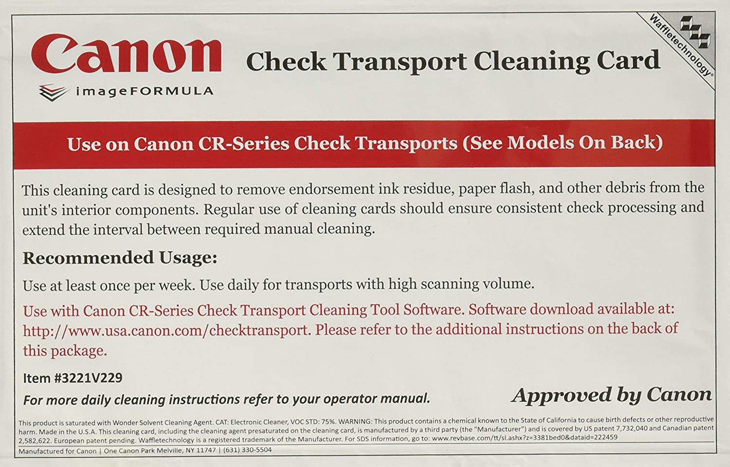 Cleaning Cards for Canon CR-Series Check Scanners (Box of 15): Electronics