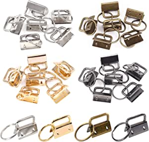 Swpeet 24Pcs 4 Colors 1 Inch/ 25mm Key Fob Hardware with Key Rings Sets, Perfect for Bag Wristlets with Fabric/Ribbon/Webbing/Embossed and Other Hand Craft - (Sliver Bronze Gun-Black Gold)