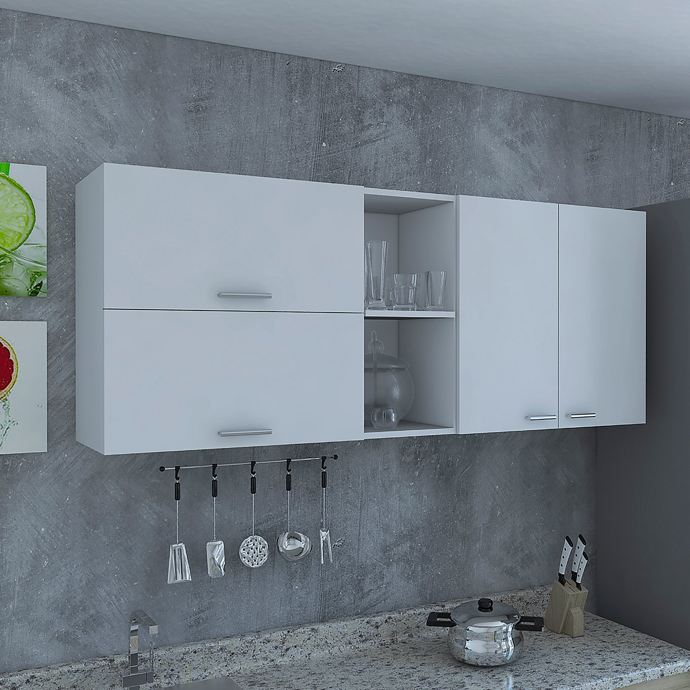 RTA Design Oprah Collection Wall Cabinet 3 Doors, Inside Shelves, 2 Outside Shelves (White, 150 cm, 1 Unit).