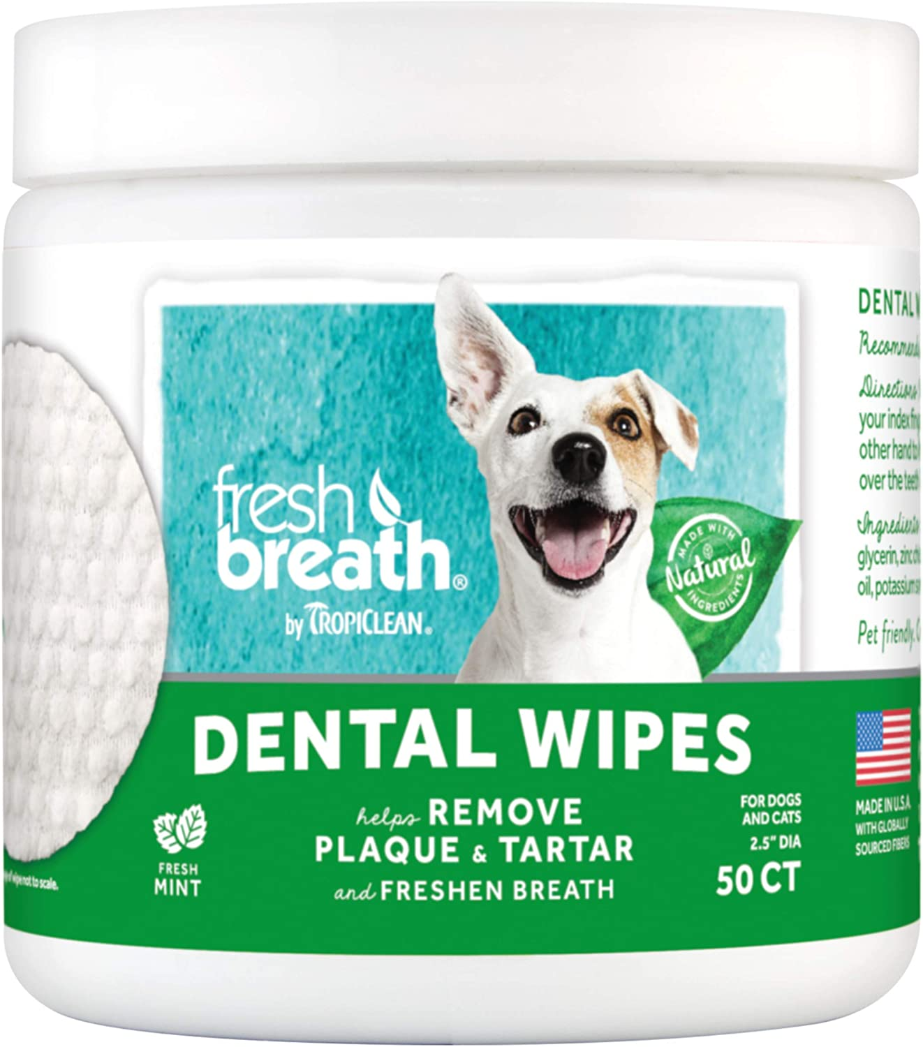 Fresh Breath by TropiClean No Brushing Clean Teeth Dental & Oral Care Dental Wipes for Pets, 50ct : Pet Supplies