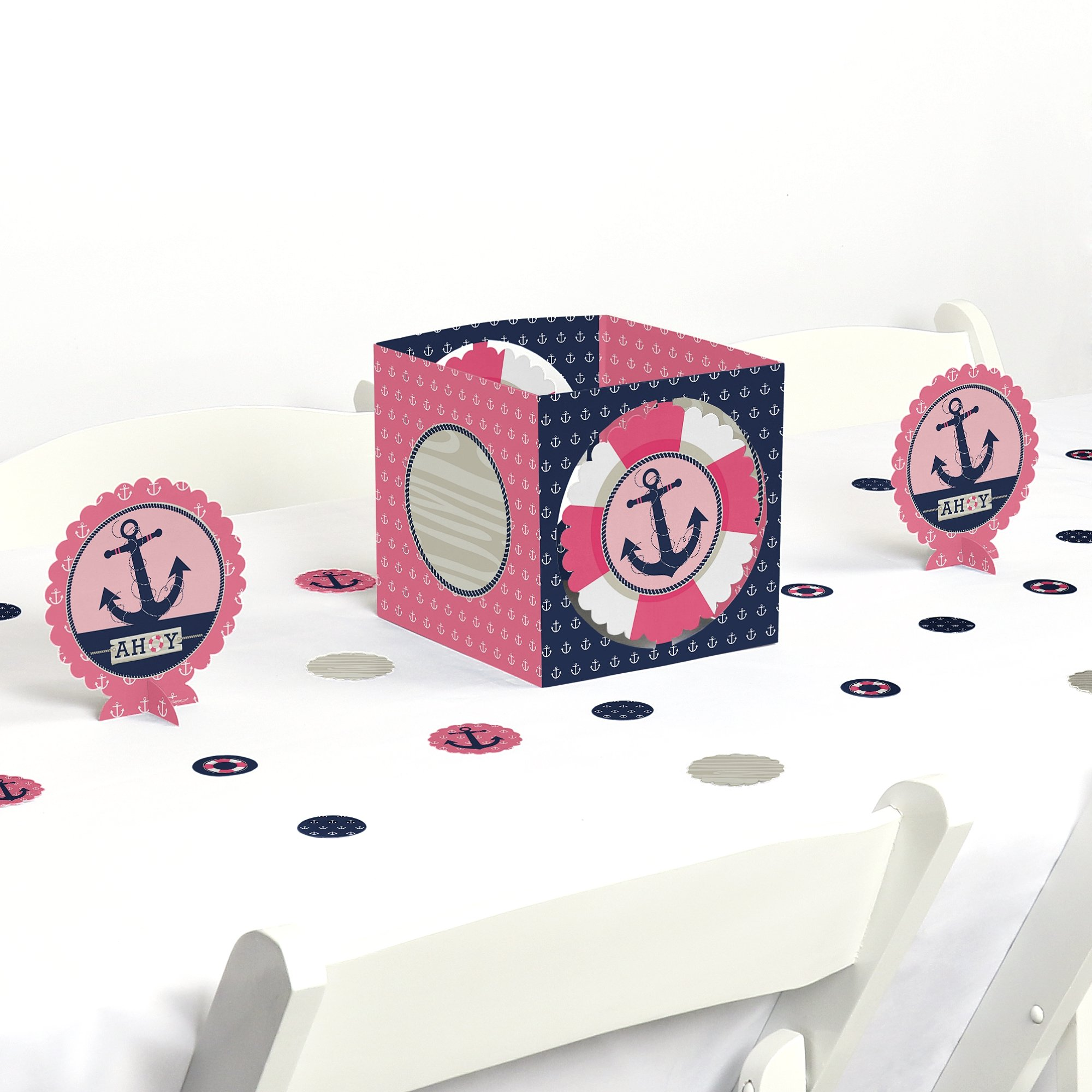 Ahoy - Nautical Girl - Baby Shower or Birthday Party Centerpiece & Table Decoration Kit by Big Dot of Happiness