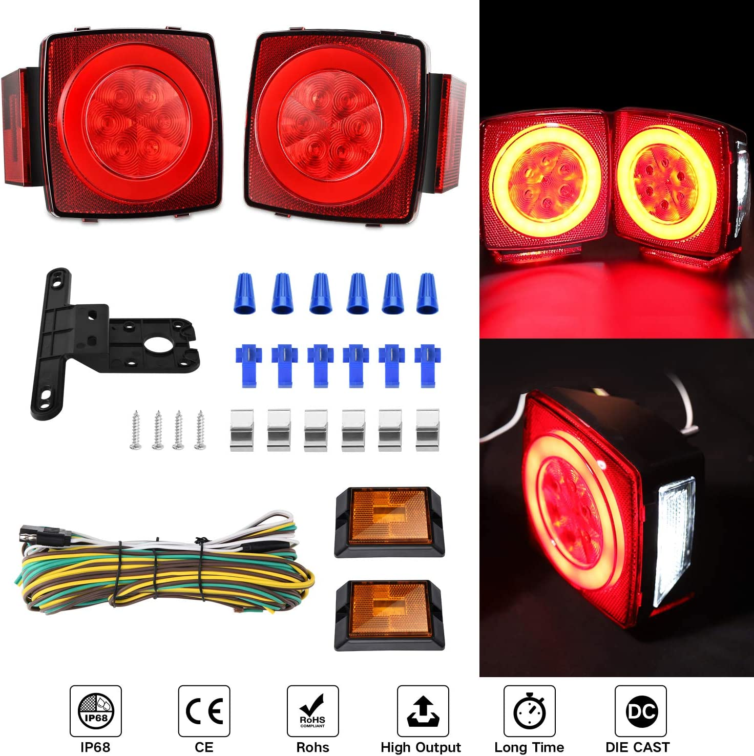IP68 Waterproof Boat Submersible Trailer Tail Light Utility Led Trailer Lights and Wiring Kit for Camper Truck RV Marine Snowmobile Under 80 Inch Kohree 2019 New 12V Led Trailer Light Kit