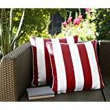 """Decor Venue Water Resistant Indoor/Outdoor Patio Decorative Stripe Throw Pillow Cushion - Set of 2-18"""" x 18"""" - Red"""