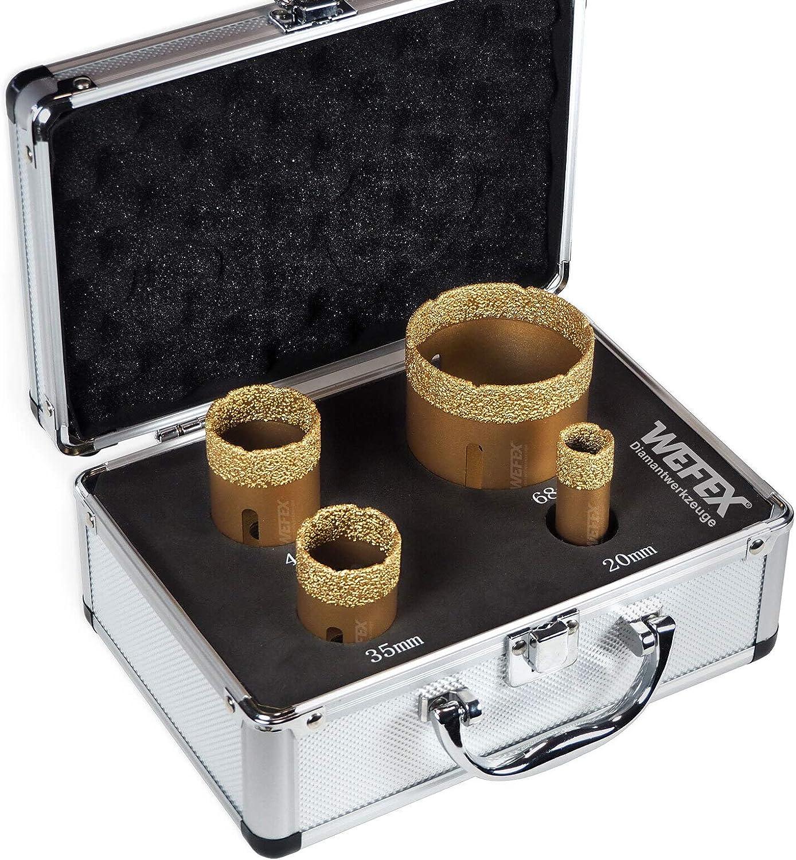 WEFEX - Juego de brocas de diamante para azulejos al vacío Premium M14, 4 piezas En maletín baldosas de cerámica de granito.: Amazon.es: Bricolaje y herramientas
