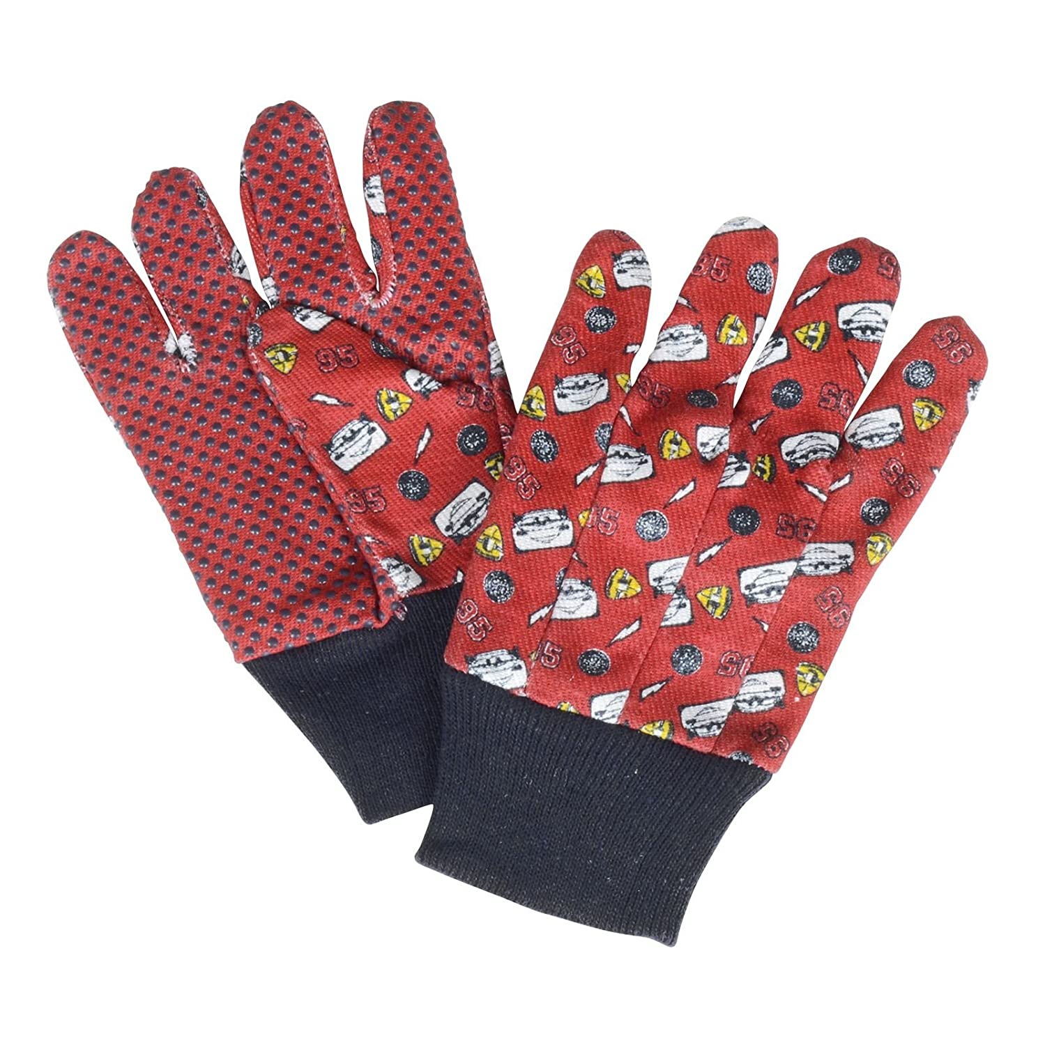 Global4Kids Kids Disney Pixar Cars Gardening Gloves Red Black Cotton Easy Grip Stretch Wrist Childs One Size tuingereedschap