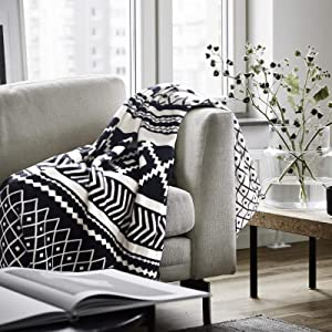 Cotton Knitted Throw Blankets Cozy Warm Soft Black and White 50