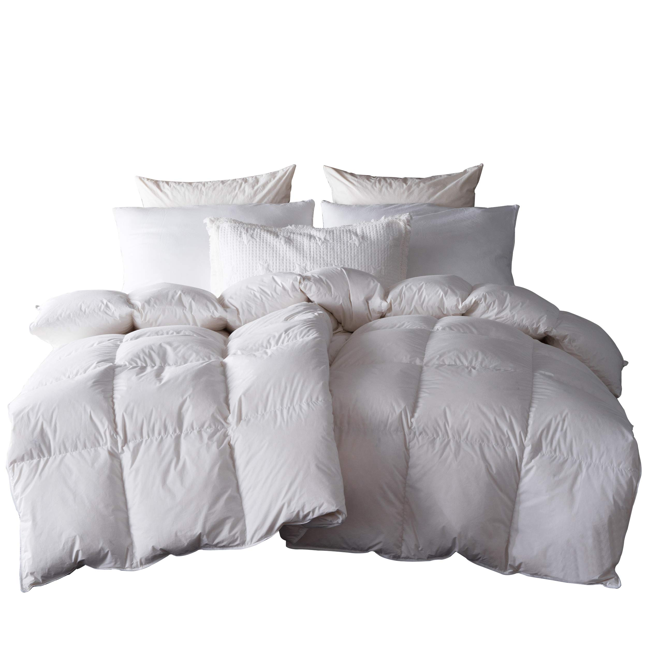 SNOWMAN White Goose Down & Feather Blend Comforter Queen Size 100% Cotton Cover Down Proof Baffle Boxes Construction,Soft and Warm