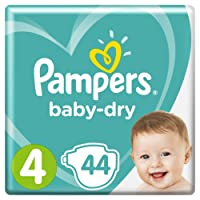 Pampers Baby-Dry Air Channels For Breathable Dryness Overnight, 44 Nappies, 9-14 kg, Size 4