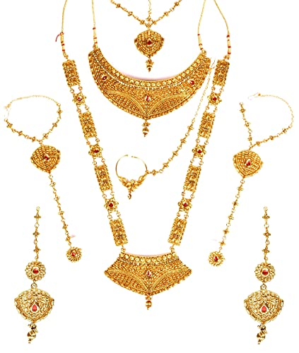 00fa6aac5 Buy Nmj Gold Plated Choker Dulhan Jewellery Set With 9 Items For Women  Online at Low Prices in India