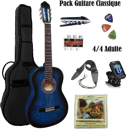 Pack Guitarra clásica adulto 4/4 + 11 accesorios ~ Neuve & garantía (azul): Amazon.es: Instrumentos musicales