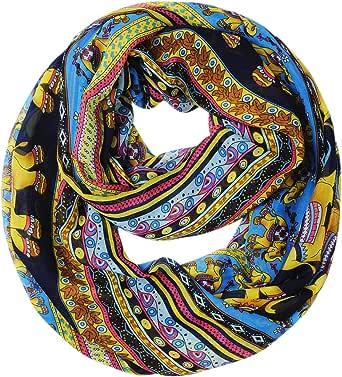 Ladies Lightweight Elephant Motif Pattern Print Infinity Loop Circle Tube Scarf