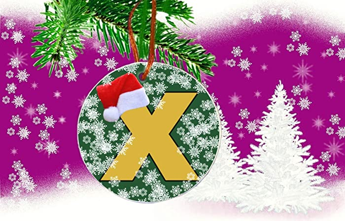 initial letter x name alphabet hanging round ceramic christmas tree ornament