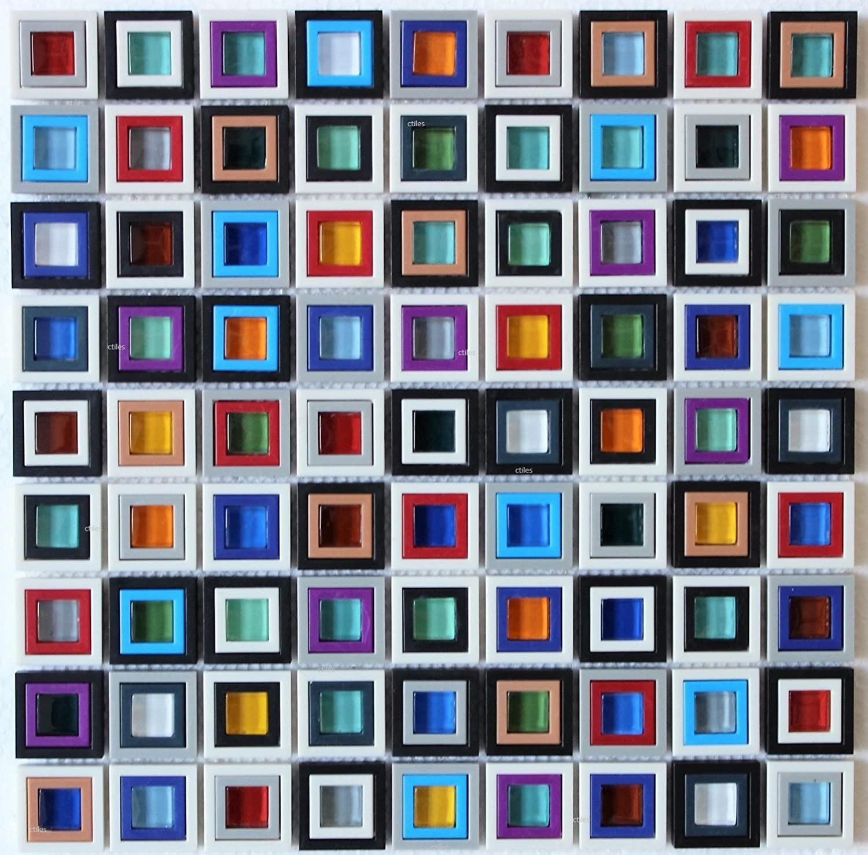 - Windows Multicolored Glass Resin Mosaic Back Splash Tile