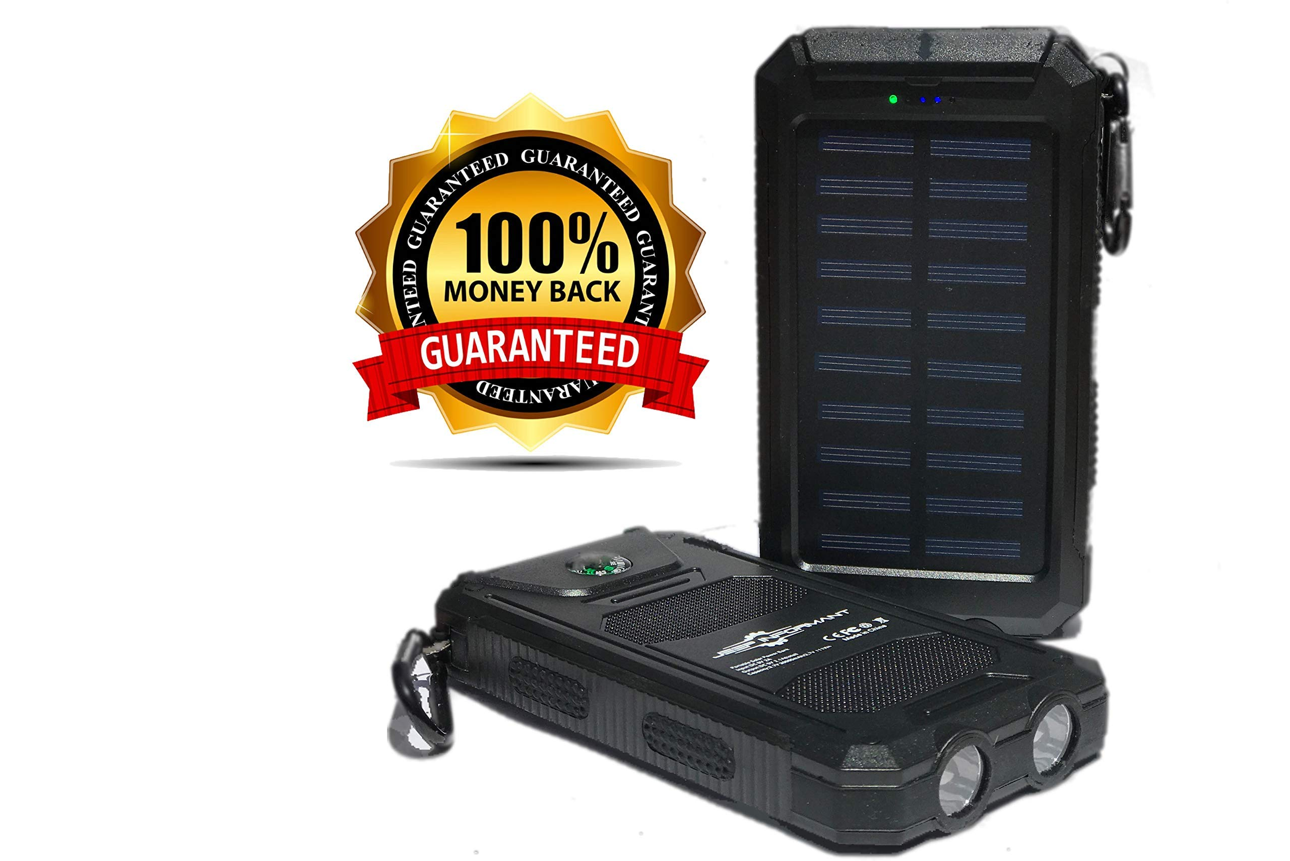 Solar Phone Charger 30000mAh Waterproof with 2 LED Flashlight Portable Battery Pack (Power Bank), 2 USB Ports and Compass Great for Camping Traveling or Emergency Backup
