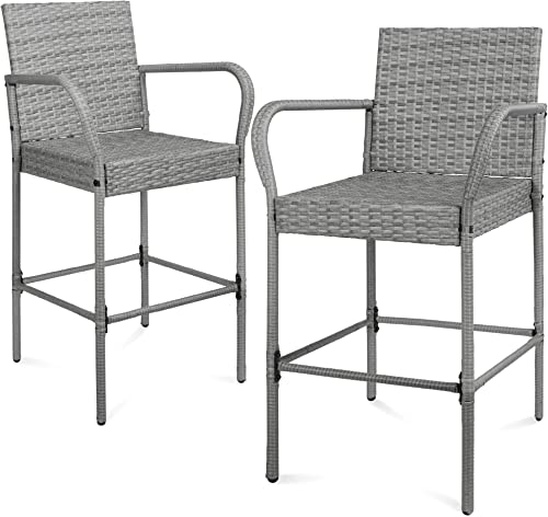 Best Choice Products Set of 2 Indoor Outdoor Wicker Bar Stools Bar Chairs