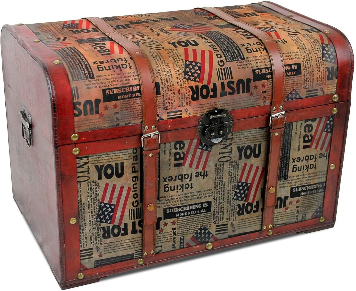 XL baúl de madera con correa 100l – American Retro Diseño de 65 x 42 x 45 cm Cofre del Tesoro Cofre del Tesoro baúl Caja de almacenamiento (Almacenamiento Caja de madera: