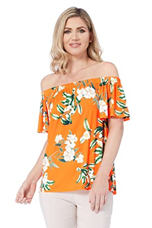 2562d9763c4c1 Roman Originals Women Floral Botanical Bardot Top - Ladies Short Sleeve Off  The Shoulder Tropical Pattern Holiday Tops - Orange  Amazon.co.uk  Clothing