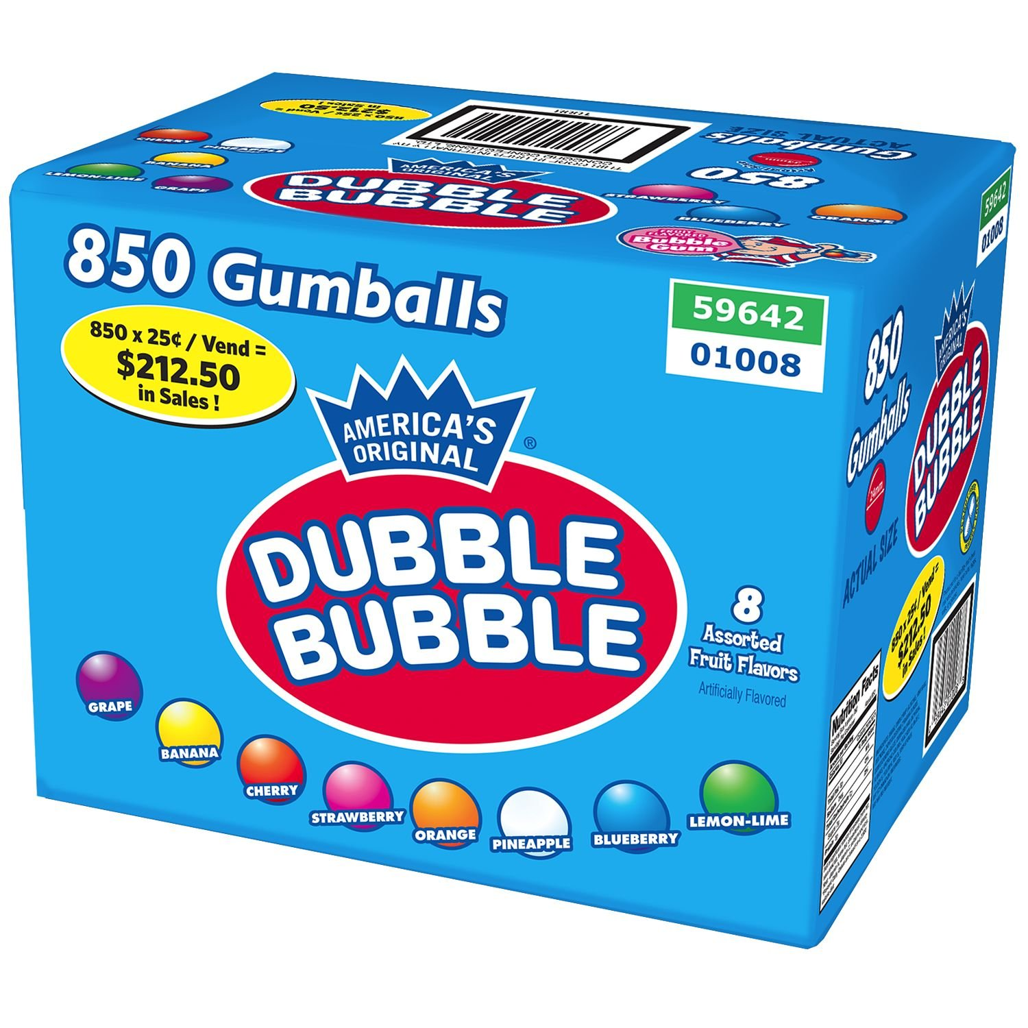 Dubble Bubble Fruit Gumballs (850 ct.) (pack of 6)