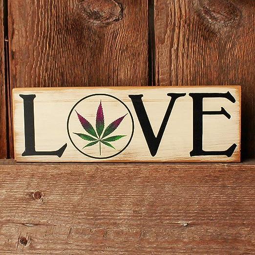 HRHRHREU - Cartel de Madera de Cannabis para Pared, diseño ...