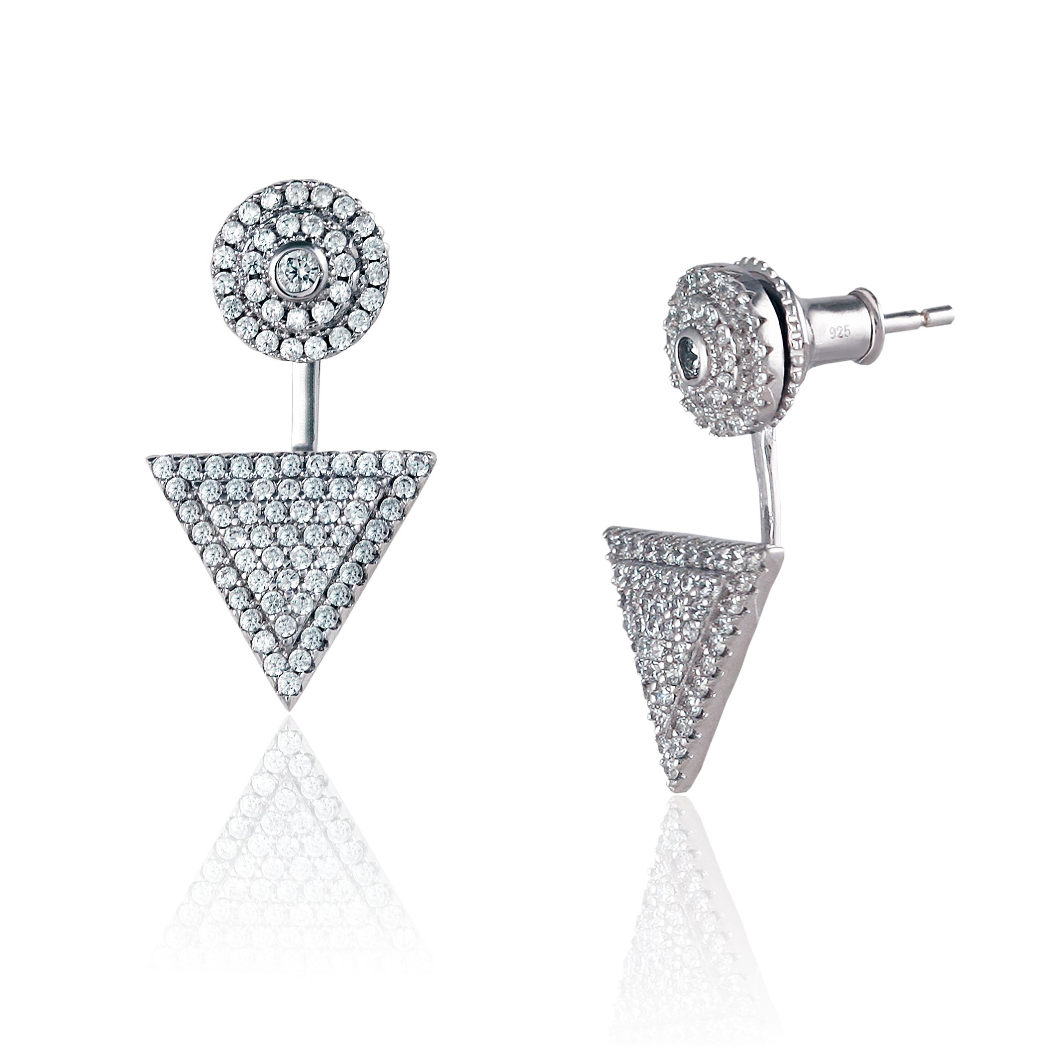 Platinum Plated 925 Sterling Silver Round Cubic Zirconia Round Disc Triangle Pave Earring Jackets