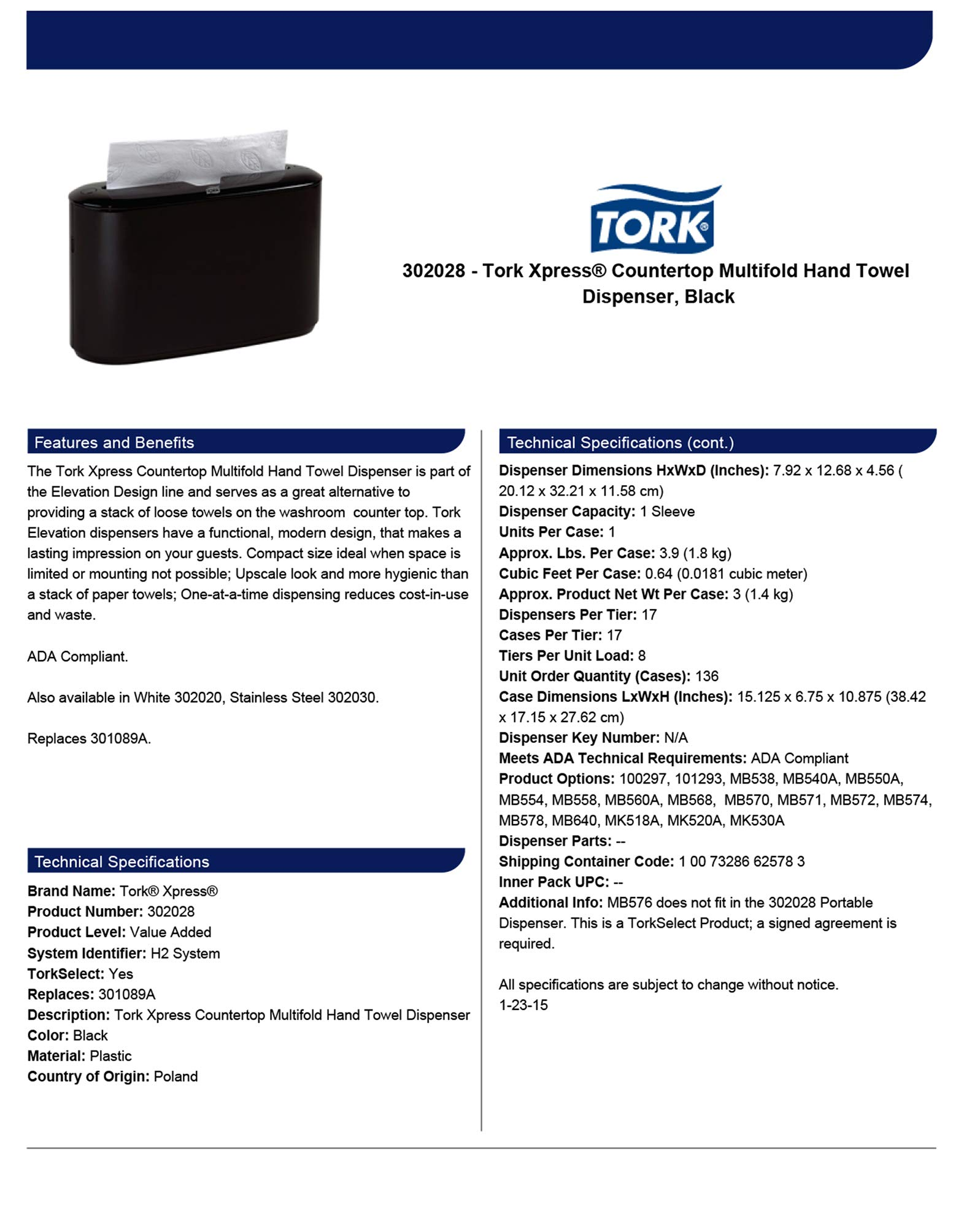 Tork Xpress 302028 Countertop Multifold Hand Towel Dispenser, Plastic, 7.92'' Height x 12.68'' Width x 4.56'' Depth, Black (Case of 1) For use with Tork MB550A, MB640, MB540A by Tork (Image #4)