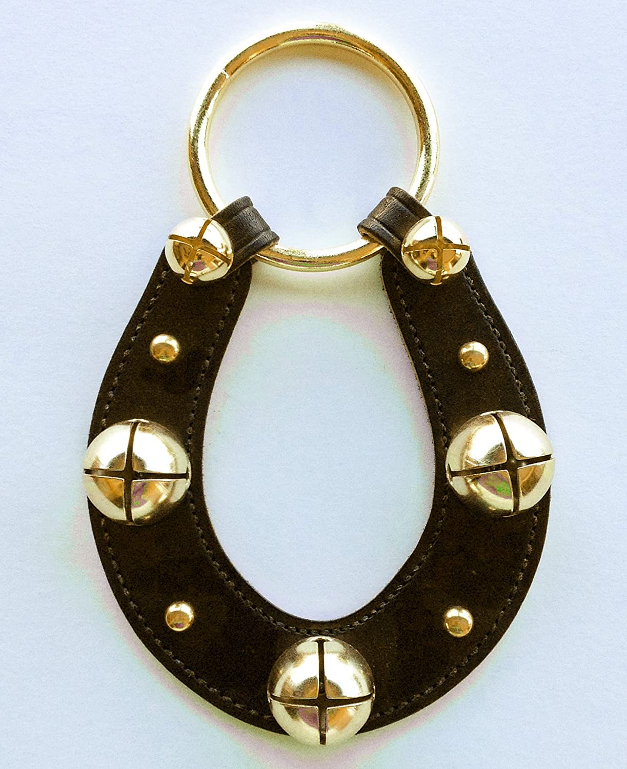Leather Horseshoe Bell Strap w//Brass Plated Bells Black Leather Sleigh Bells Equestrian Decor KensingtonRow Home Collection Bells /& Sleigh Bells