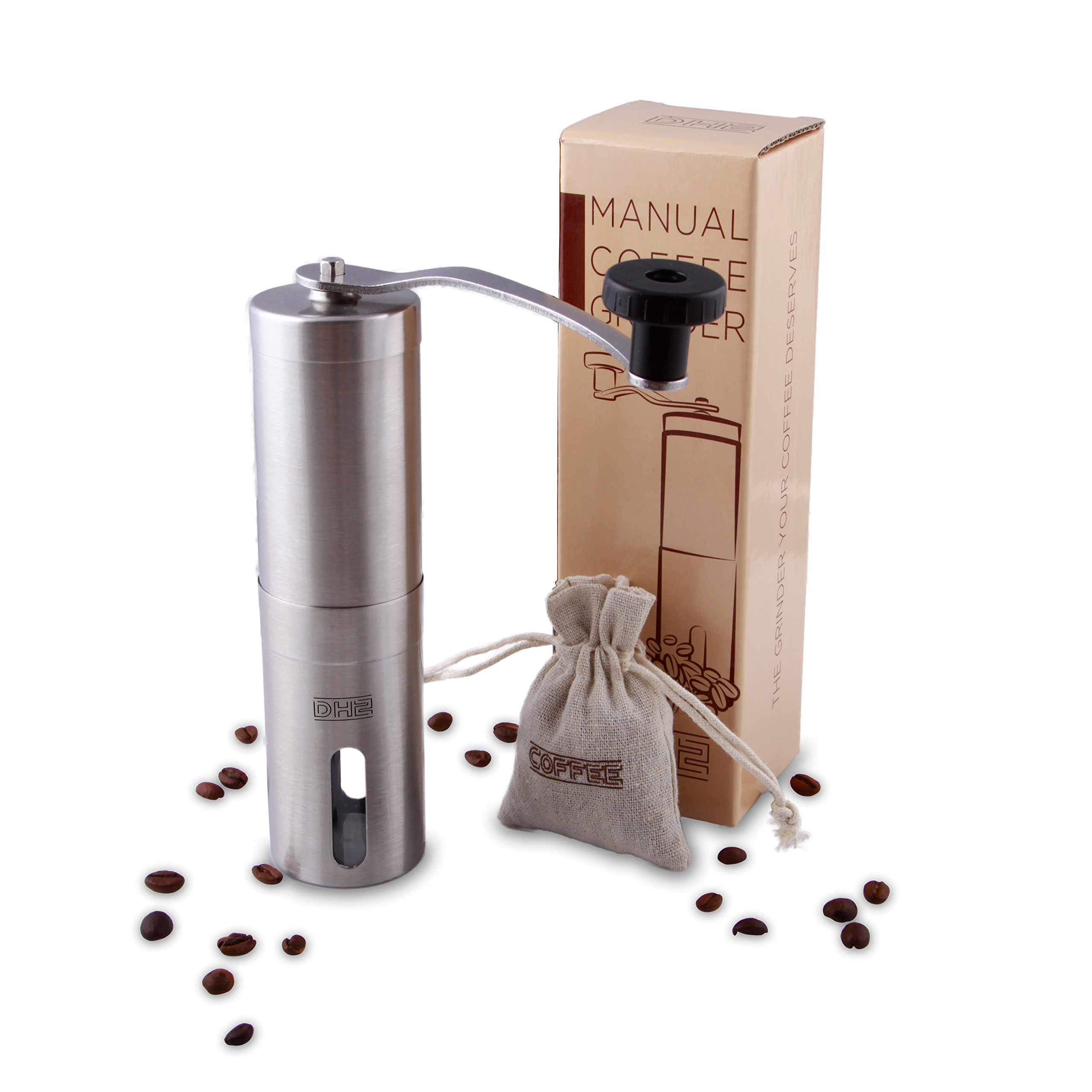 DH2 Manual Coffee Grinder with Ceramic Burrs, Brushed Stainless Steel, FDA Approved, Portable and Light, GIFT - Coffee Beans Storage Bag