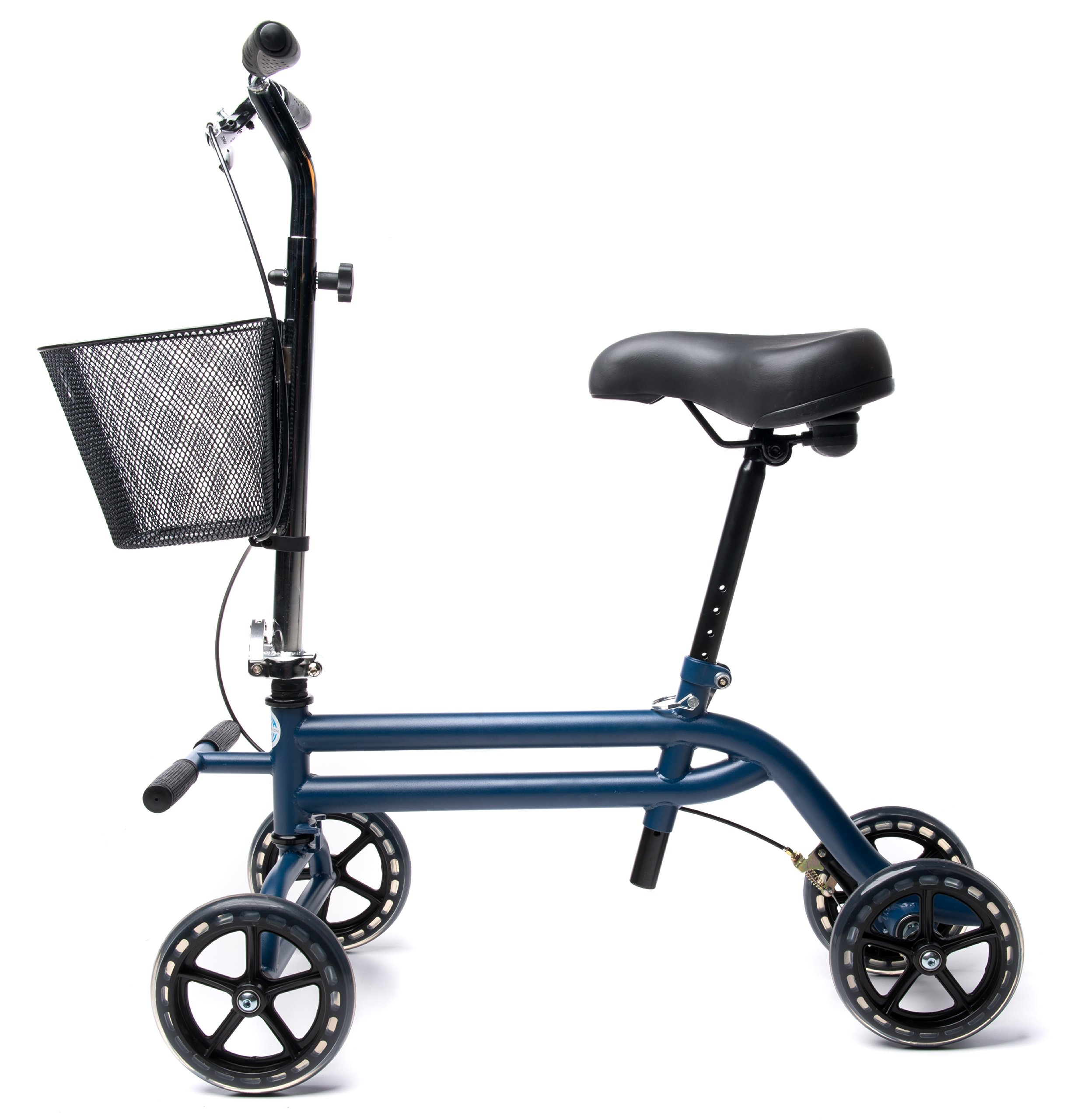 Evolution Steerable Seated Scooter Mobility Knee Walker Turning Leg Walker Crutches Alternative in Blue by KneeRover