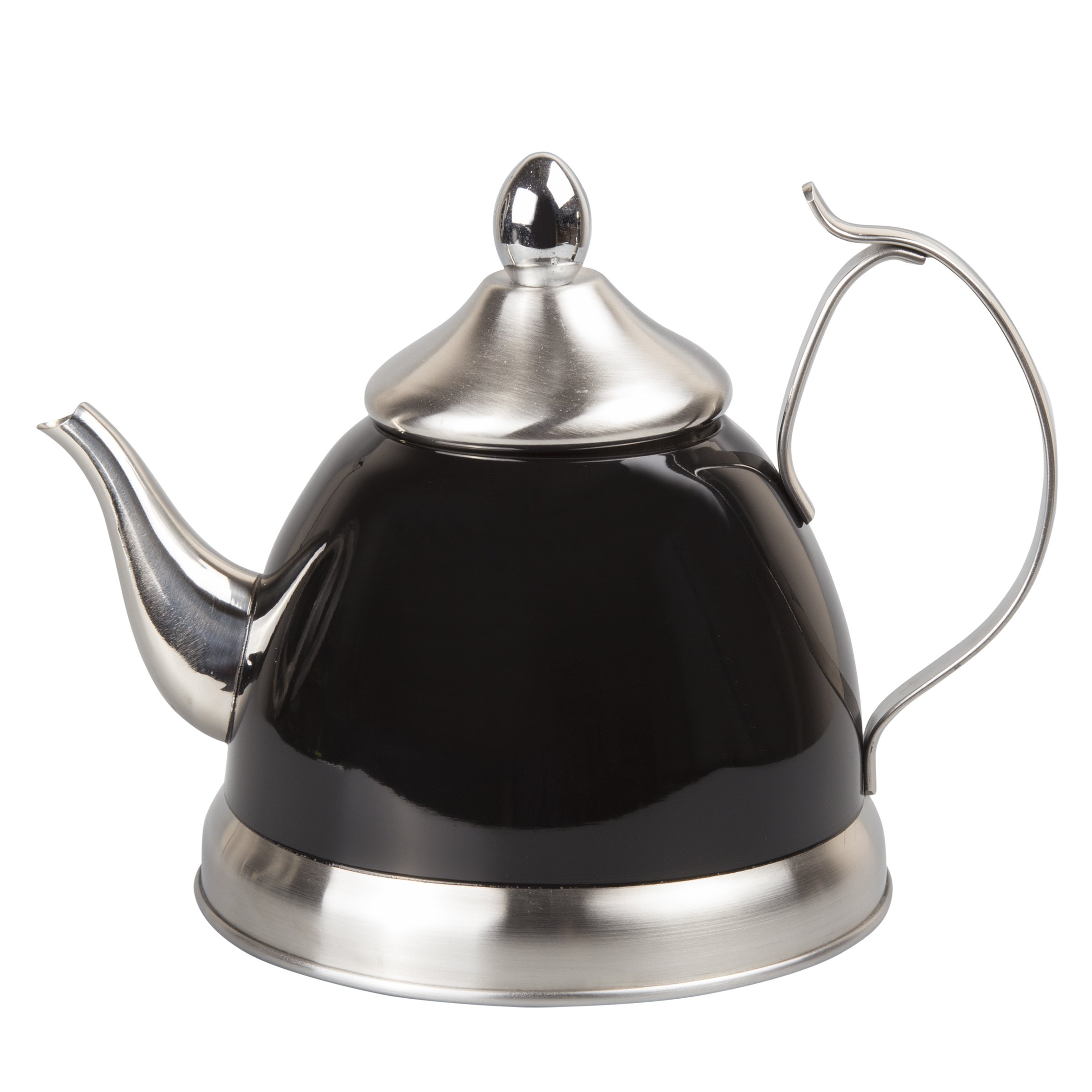 Creative Home 77078 1.0 Qt. Nobili-Tea Stainless Steel Kettle with Removable Infuser Basket, Filter Black
