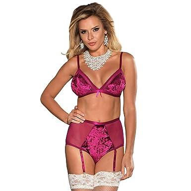 3136c5ccfab33 ohyeahlady Women Sheer Mesh Bra Set Velvet Bra and High-Waisted Garter Belt Set  Plus Size Lingerie Set: Amazon.co.uk: Clothing