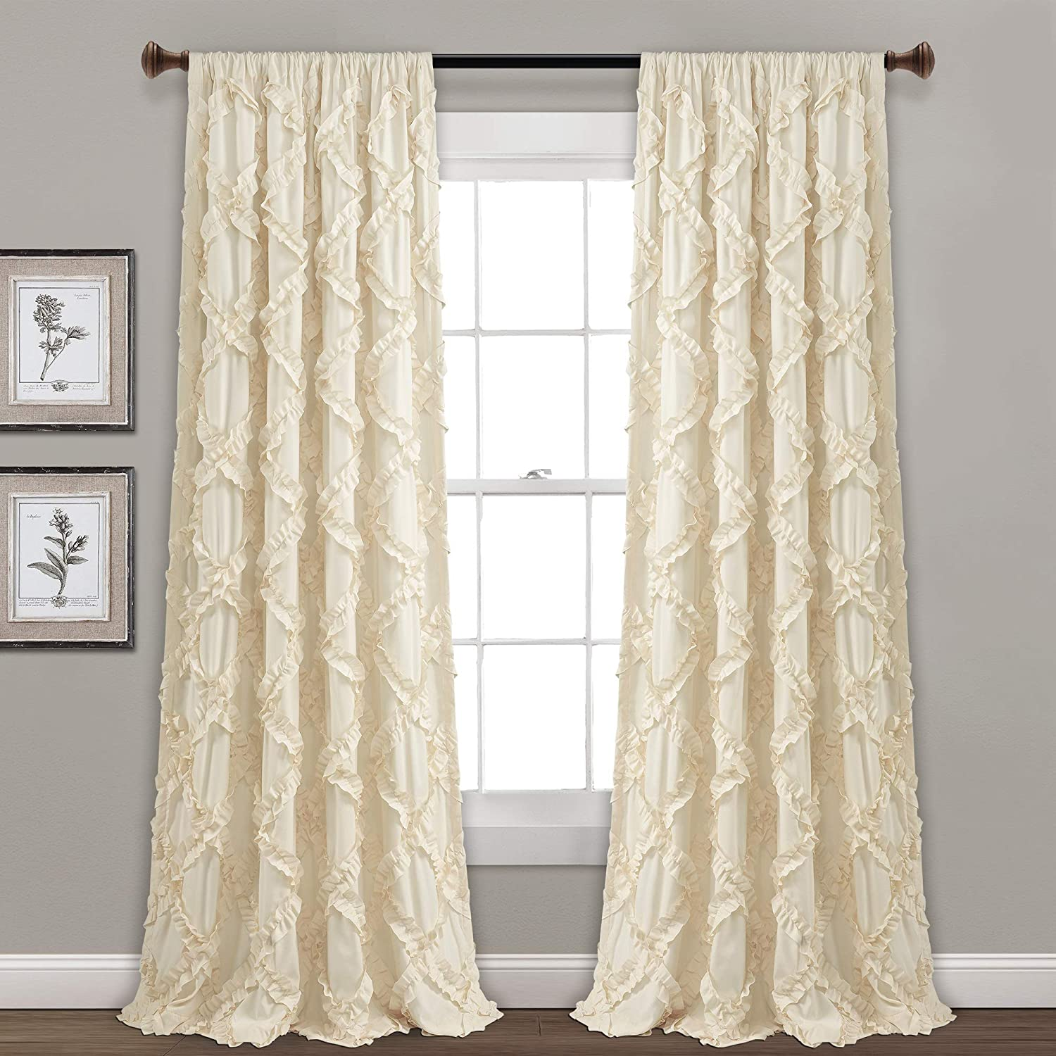 "Lush Decor, Ivory Ruffle Diamond Curtains Textured Window Panel Set for Living, Dining Room, Bedroom (Pair), 95"" x 54, 95"" x 54"""