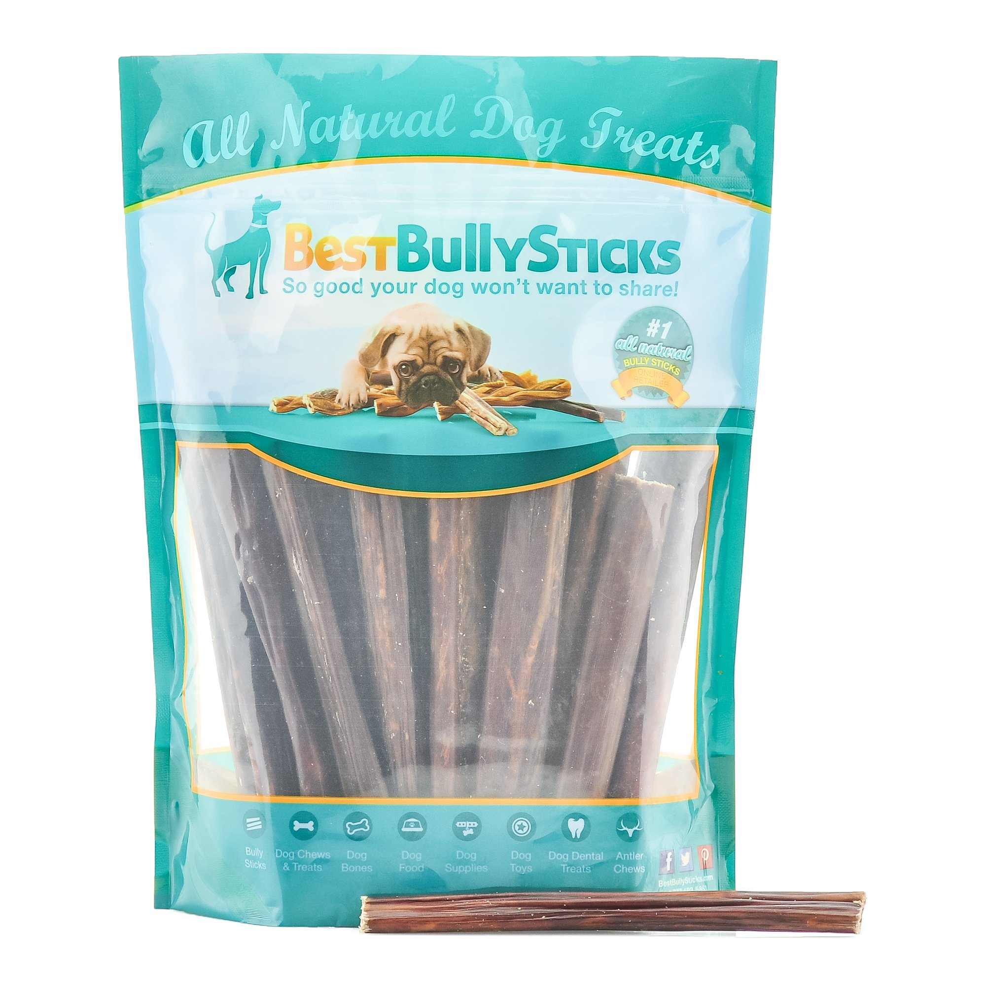 Best Bully Sticks All Natural 6-Inch Beef Gullet Sticks Dog Treats by (25 Pack)