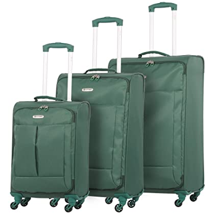 """4285f31cc79b 5 Cities Ultra Lightweight 4 Wheel Spinner Travel Trolley 3 Piece Luggage  Suitcase Set, 21"""" Hand Cabin Luggage + 24"""" Medium and 28"""" Large Check in ..."""