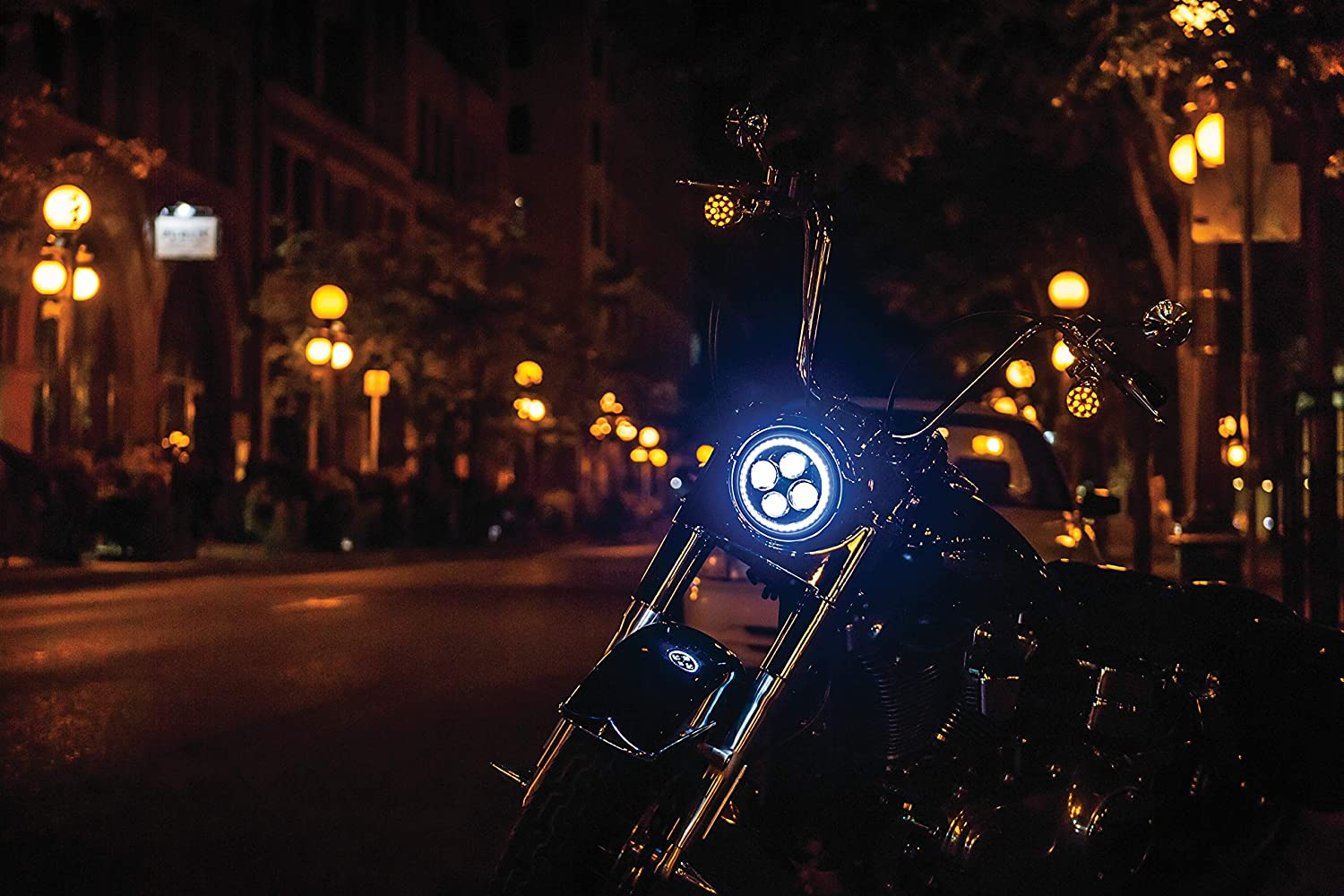1 Pair Black Kuryakyn 2466 Motorcycle Lighting Accessory: 4-1//2 Orbit Vision LED Passing Lamps with White Halo Rings for Harley-Davidson Indian Motorcycles