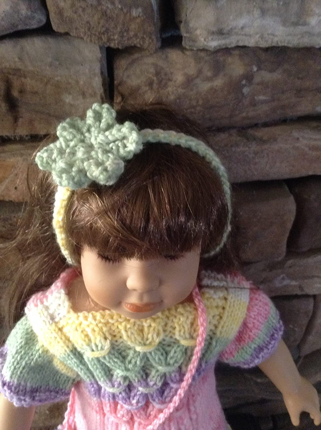 Hand knitted Dress for 18 inch dolls with Purse and headband