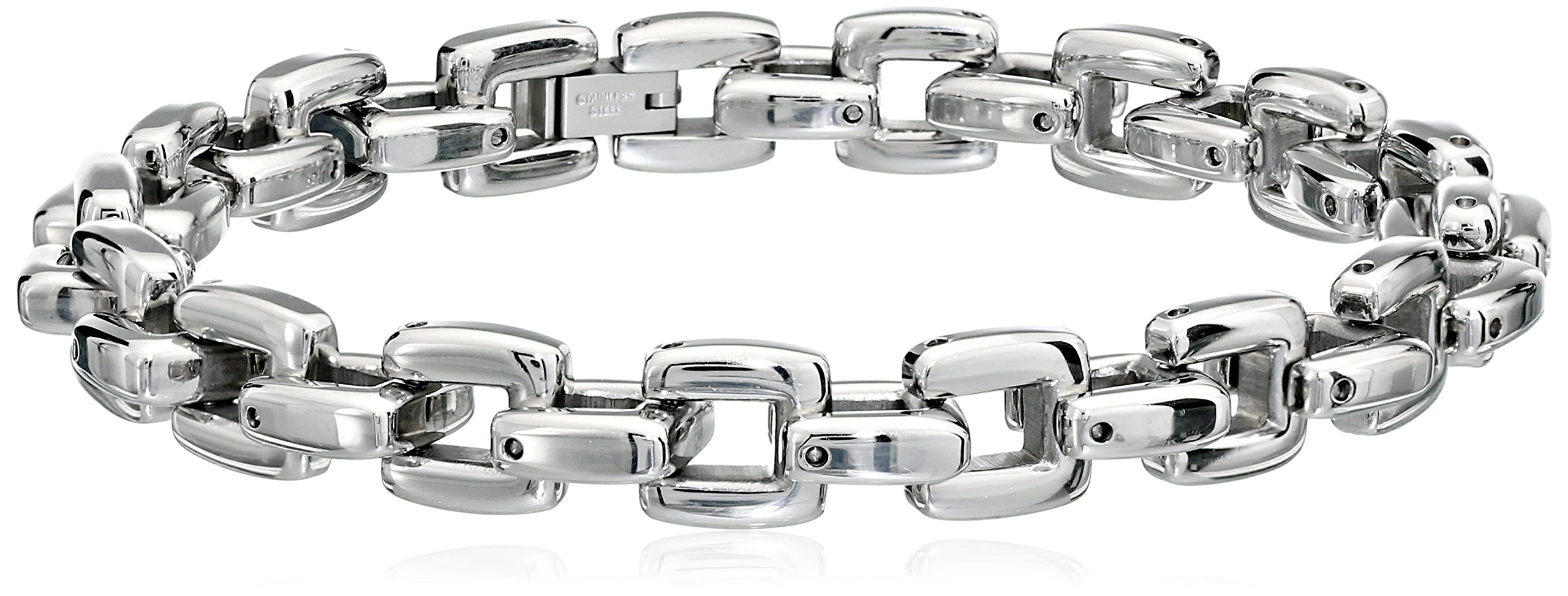 Cold Steel Stainless Steel Square Men's Link Bracelet, 9.0''