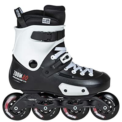 Powerslide Unisex_Adult Zoom 80 Triskate, Black and White, 43-44 : Sports & Outdoors