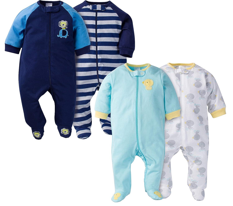 Gerber Baby Boys' 4 Pack Sleep 'n Play Animals Newborn