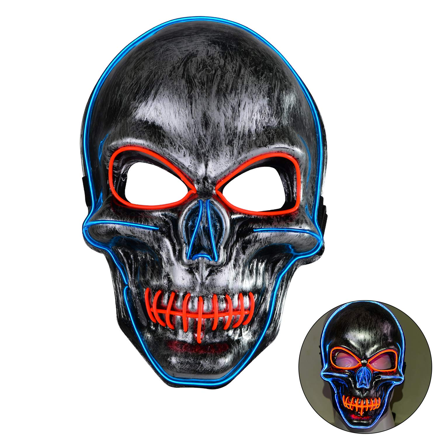 Great LED Light-Up Skull Mask for Halloween, Cosplay, Raves, etc. (Blue and Red)