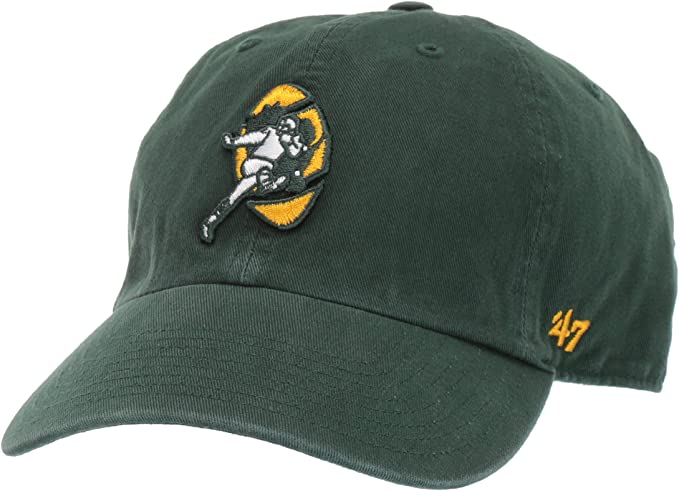 Green Bay Packers /'47 Brand Black Clean Up Adjustable Dad Hat