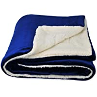 SOCHOW Sherpa Fleece Throw Blanket, Double-Sided Super Soft Luxurious Plush Blanket 50 × 60 Inches, Blue