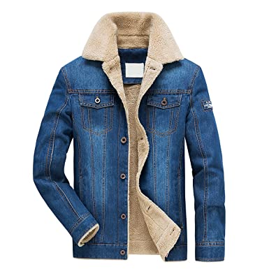 the latest 6fd4d 1bdd3 Jeansjacke Herren Winter Denim Jacket Gefütterte Jeans Jacke ...