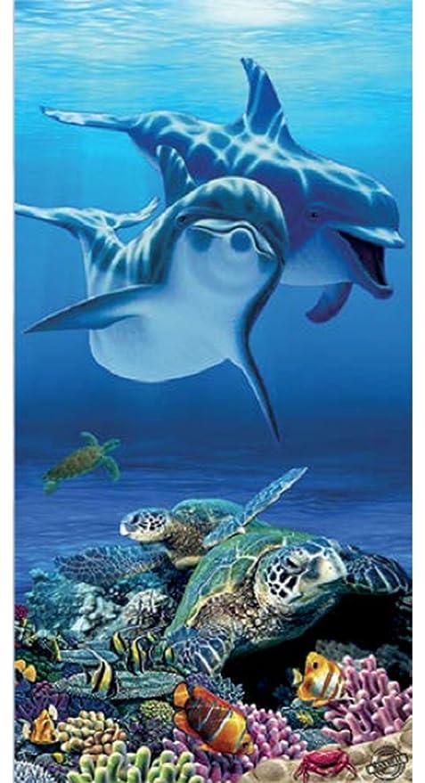 Toalla de baño, diseño de delfín, diseño de tortuga